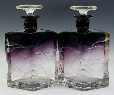 Antique Moser Intaglio Engraved Cut Glass Purple-To-Clear Perfume Scent Bottles