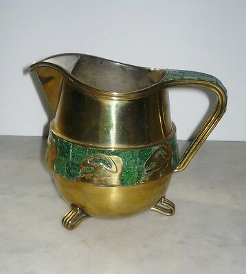 Salvador Teran Malachite Mosaic Inlaid Brass Pitcher with Mayan Writing Mexican