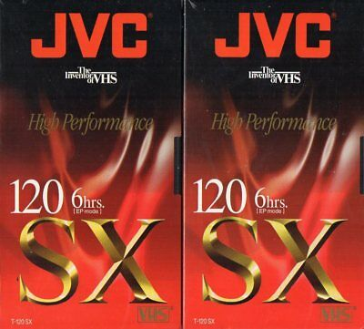 2 JVC High Performance T-120 SX New Sealed Blank VHS Video Tapes