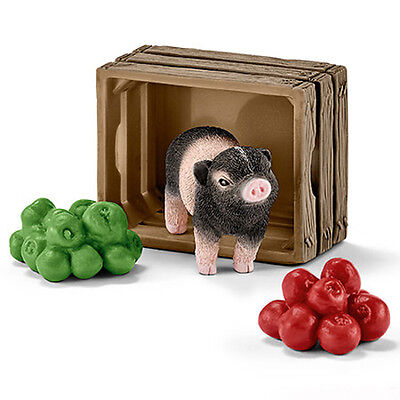 Schleich 42292 Mini Pig with Apples Crate Model Farm Animal Toy - NIP