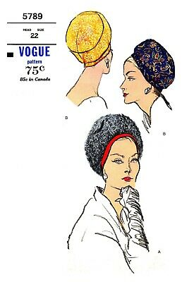 Vogue Vintage  Millinery Hat Cloche Material Sew  Fabric sewing pattern #5789