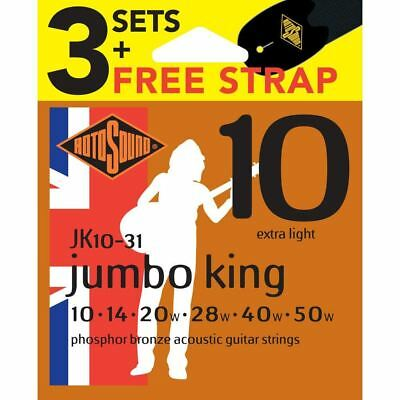 Rotosound JK10 Acoustic Guitar Strings 3 Sets & FREE Strap  Gauge 10-50