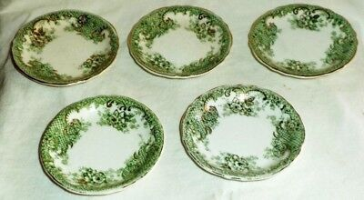 T & R Boote Butter Pats (5) Rosebud Green Lattice Gold Trim Embossed England