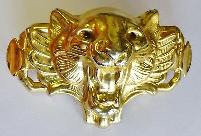 Vintage Lion Hair Clip Gold Tone Jewel Eyes France RARE