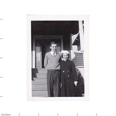 Old Vintage Photo TEEN BOY GIRL STANDING OUTSIDE STAIRS OF HOUSE