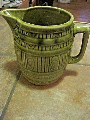 Mccoy Barrel Pitcher ~ Stoneware Line ~ Green ~ Vguc ~ One Chip