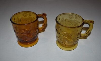 Vintage MOSSER Amber Glass Cup Mug - Robin Birds in a Tree (Qty 2 )