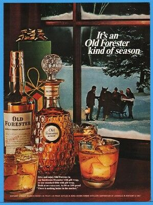 1967 Old Forester KY Straight Bourbon Whiskey Brown Forman Louisville Sleigh Ad