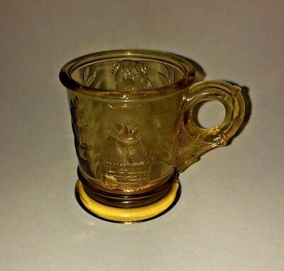 Vintage MOSSER Glass Childs Cup Mug - Kitten in Basket Bear in Drum - Amber
