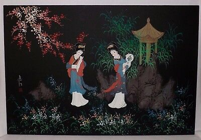 """Lovely Large 37 1/2"""" x 25 1/2"""" Signed Japanese Geisha Girls Painting Great Color"""