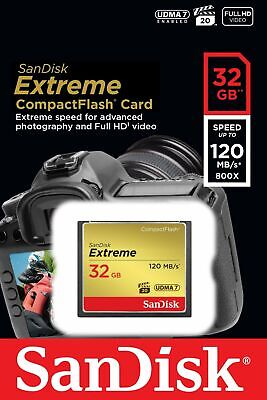 32GB SanDisk Extreme CF Compact Flash Memory Card 120MB/s 85MB/s
