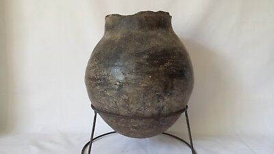 """Ancient Chinese 400 BC  Black Burnished Pottery  Vessel w Stand 11"""""""
