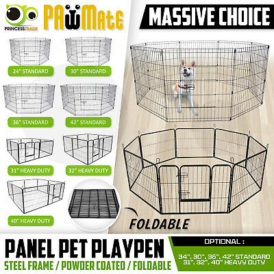 """24 30 36 42"""" 8 Panel Pet Playpen Fold Exercise Cage Fence Enclosure Dog Puppy"""