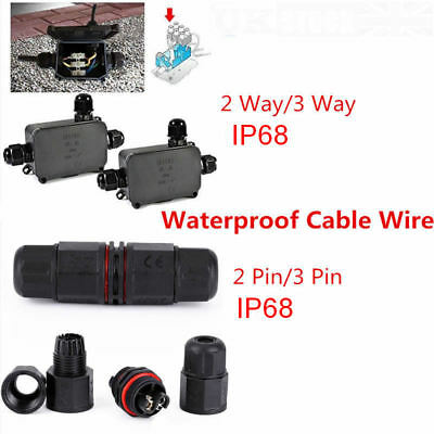 3 Way 2/3Pin Junction Box Waterproof IP68 Cable Wire Connector Protection