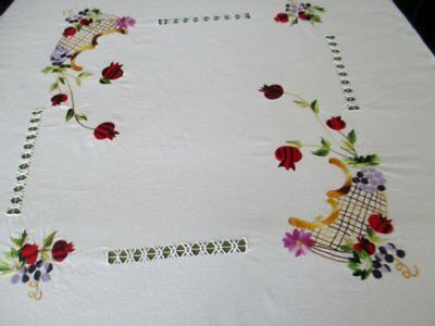 "VINTAGE TABLECLOTH HAND EMBROIDERED with FLOWERS - 40"" x 54"""
