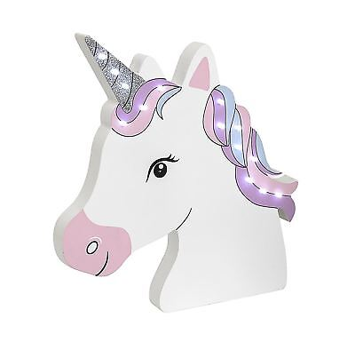 White Unicorn Head with LED Lights by The Leonardo Collection