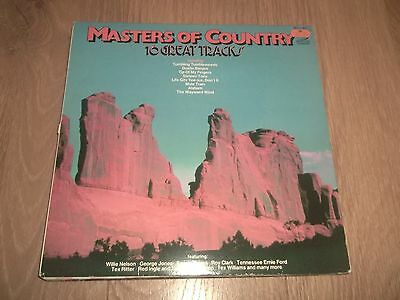 """Various Artists """" Masters Of Country """" Vinyl Lp Ex/ex Willie Nelson Tex Ritter.."""