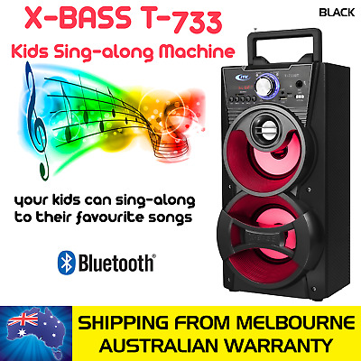 Black Kids Sing-Along Extra Bass Portable Speaker With 1 Microphone, Bluetooth