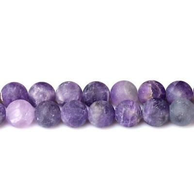 Amethyst Round Beads 10mm Purple 32+ Pcs Frosted  Gemstones DIY Jewellery Making