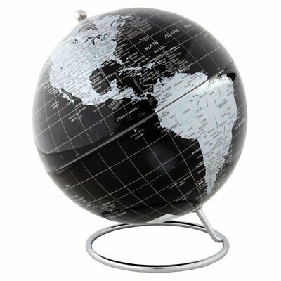 Lily's Home Silver And Black Political World Globe With Stand - 8 Inch Diameter