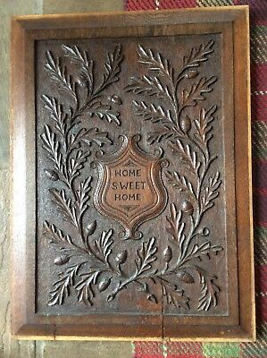 Large Antique Carved Oak Panel Inscribed Home Sweet Home Acorn Foliage Carving