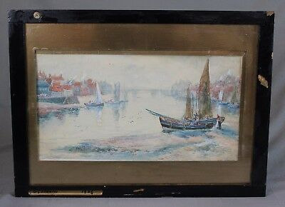Large Early 20th Century Watercolour Whitby by GS French 1905