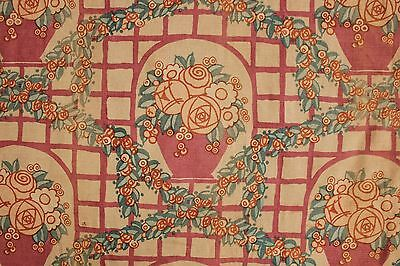 1920's Vintage Curtain French floral basket printed linen drape old check