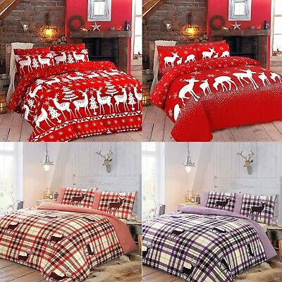 Christmas XMas Duvet Quilt Cover Bedding Set With Pillowcase Single Double King