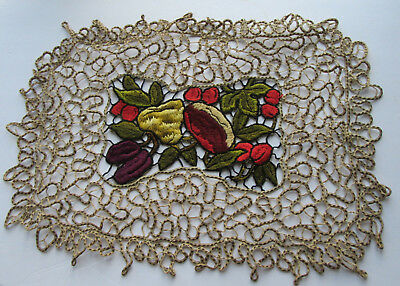 Antique Pierced Embroidery Fruit w Openwork Lacy Edge Doily or Place Mat