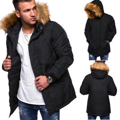on sale d4fee 6f5c5 JACK & JONES Herren Parka Winterjacke mit Kapuze Jacke Fell-Imitat Schwarz  NEU