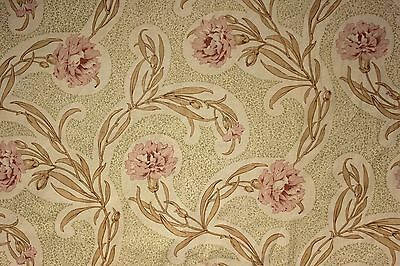 Antique French  printed fabric Arts and Crafts c 1900 curtain drape upholstery