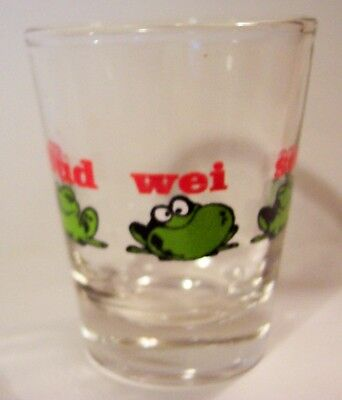 Budweiser Beer Bud Frogs Logo On A Clear Shot Glass