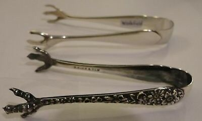 Kirk Sterling Two Sugar Tongs  Repousse And Wadefield