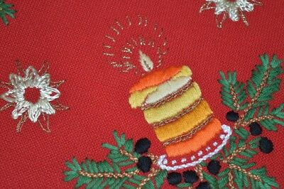 Christmas Eve Candle In Pearlized & Metallic Threads! Vtg German Red Wool Runner