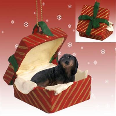 Dachshund Black Longhaired Dog RED Gift Box Holiday Christmas ORNAMENT