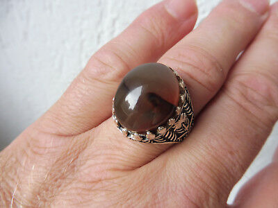 Beautiful, Old, . BIG RING__925 Silver with braun-michigem STONE __ MEN'S RING _