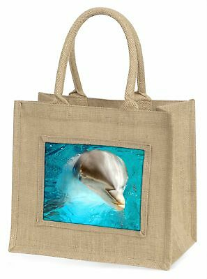 Dolphin Close-Up Large Natural Jute Shopping Bag Christmas Gift Idea, AF-D5BLN