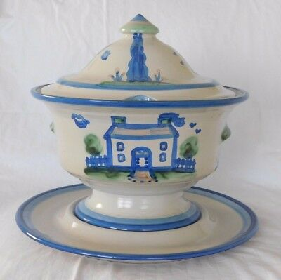 M.A. HADLEY Large SOUP TUREEN of COUNTRY SCENE with Lid & Under/Drip Plate.