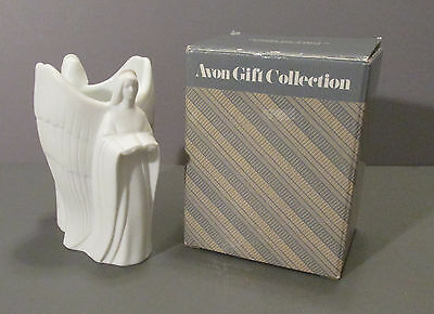 Avon White Bisque Double Angel Candle Holder