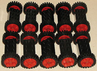 Lego Lot Of 10 Red Car Or Truck Wheels With Rubber Tires Vintage Town Parts