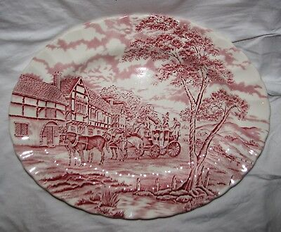 "red transferware Myott Meakin ROYAL MAIL Large Oval Platter 12.5"" horses coach"