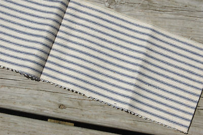Antique Ticking Blue Stripe Fabric Primitive Piece 5 x 36 Selvage edge