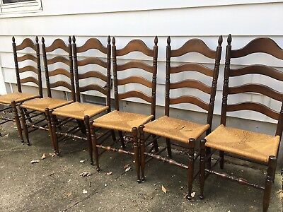 Set of 6 Antique Walnut Ladder Back Chairs with Rush Seats