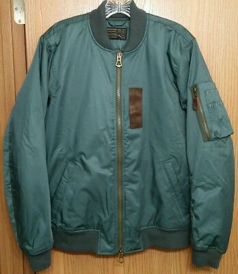 NWT Abercrombie & Fitch Mens Green Nylon MA-1 Bomber Jacket ~ S