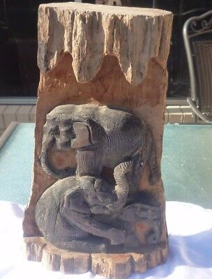 Vintage Antique African Hand Carved Wooden Elephant Wall Hanging Figurine