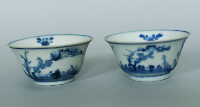 Two Shipwreck Qing Kangxi blue and white cups (scholar in landscape (A)