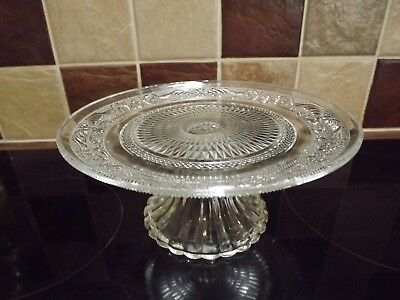 Vintage Style Glass Cake Stand Retro Shabby Chic Pressed Glass 20cm