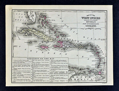 1876 Mitchell Map West Indies Caribbean Sea Cuba Bahamas Jamaica Antilles