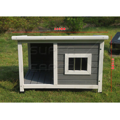 Large Wooden Pet Dog Kennel Timber House Cabin Wood Log Box Home Window