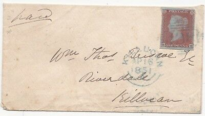* 1851 4  MARGIN 1d IMPERF =438= BLUE NUMERAL OF TULLAMORE ON COVER TO KILLUCAN